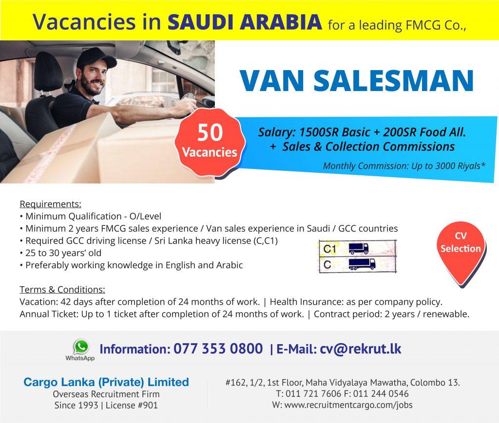 Van Salesman Vacancies in Saudi Arabia